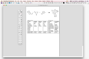 ChemDraw Professional is compatible with MacOS 10.10 (Yosemite). This screenshot shows the reaction stoichiometry tool.