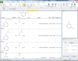 Figure 1: ChemDraw for Excel used to create a structure-activity table with automatic R-group searching.