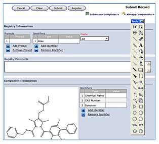 Registration is integrated with ChemBioDraw