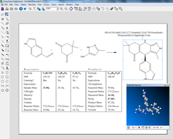 The reaction stoichiometry grid is complemented with IUPAC name generation. When deployed with ChemOffice Professional, ChemDraw allows for an in app 3D viewer through a Chem3D Hotlink window.