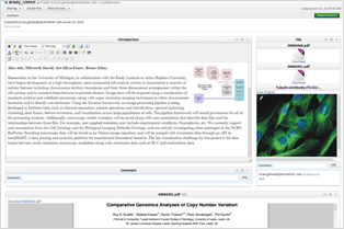 A sample biology experiment highlights the social nature of elements (the ability to add comments) and the modern user-friendly interface. Introduction, file list, annotatable image, and PDF elements are shown --others are available including, the award winning chemdraw app, spreadsheets, history and more.